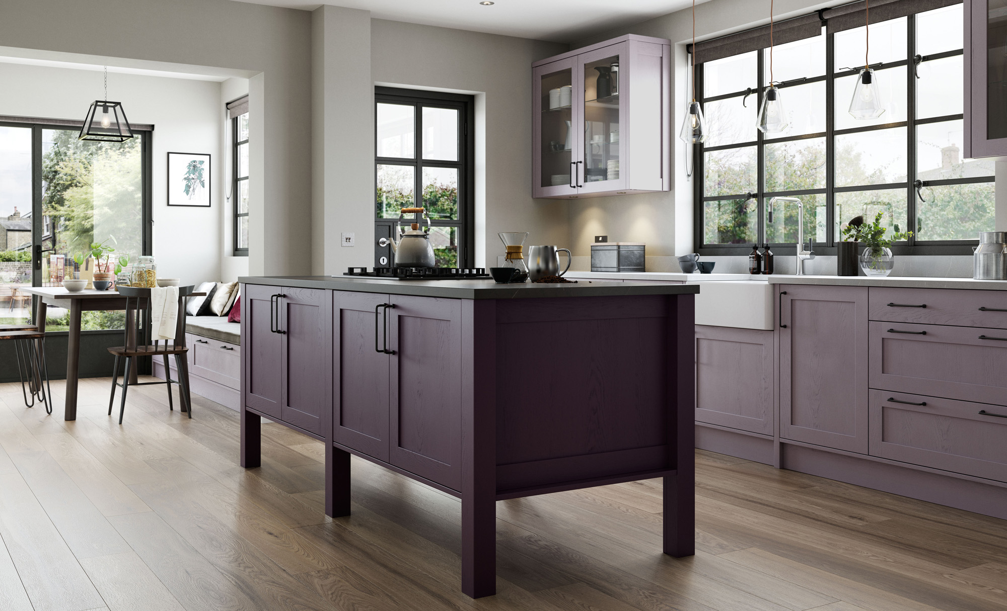 Modern Contemporary Deep Heather Lavender and Grey Kitchen image