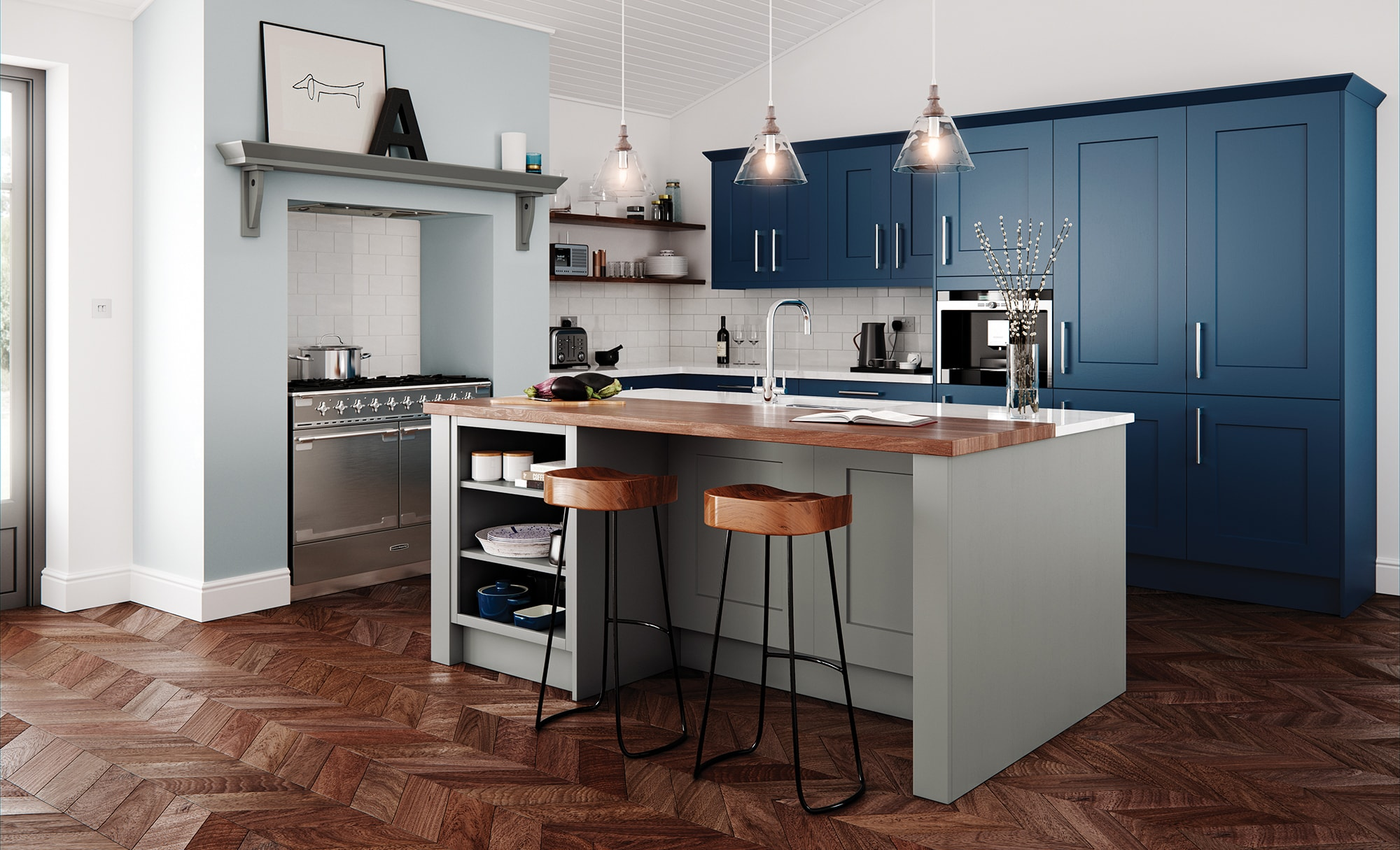 Classic Traditional Clonmel Stone and Parisian Blue image