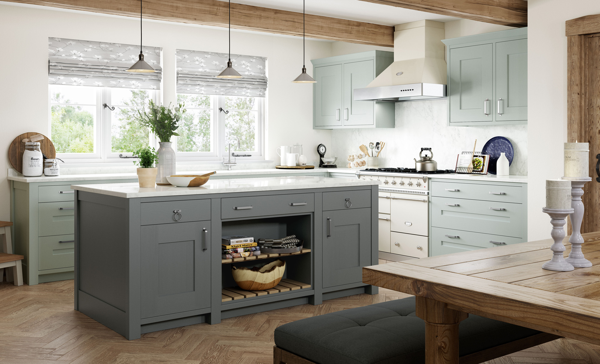 Country Classic Traditional Clonmel Light Blue and Gun-Metal Grey image