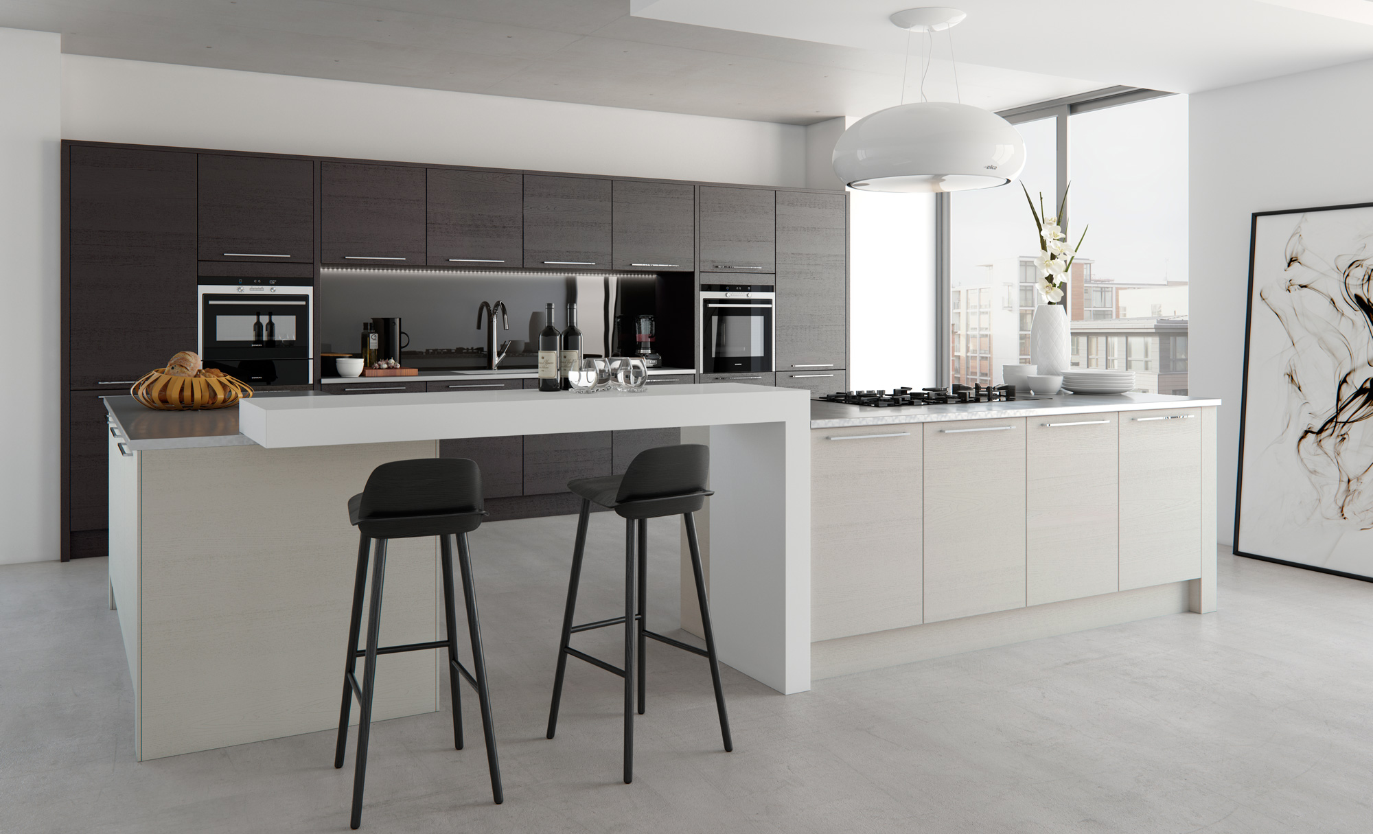 Modern Contemporary Tavola Stained Hacienda Black Painted Light Grey image